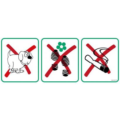 Zakaz wprowadzania psów,deptania trawnika, palenia tytoniu - znak na podkładzie EM003