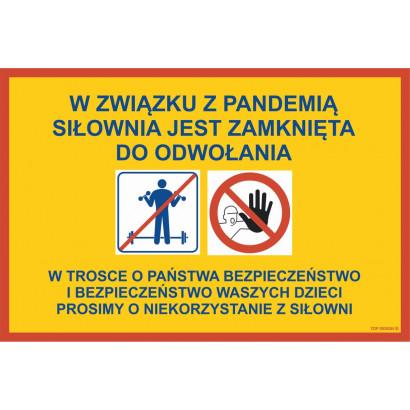 Informacja o zamknięciu siłowni w związku z pandemią