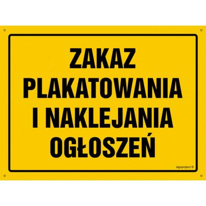 Zakaz plakatowanie i naklejanie ogłoszeń