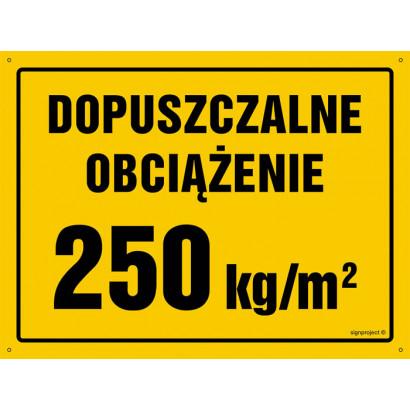 Dopuszczalne obciążenie 250 kg/m2