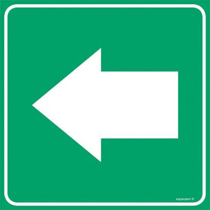 Znak kierunku stosowany łącznie ze znakami OB-013 i OB-014