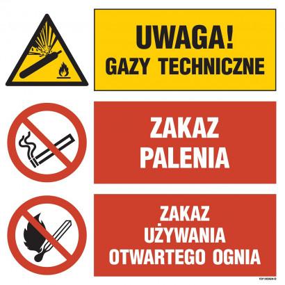 Uwaga! gazy techniczne, Zakaz palenia, Zakaz używania otwartego ognia