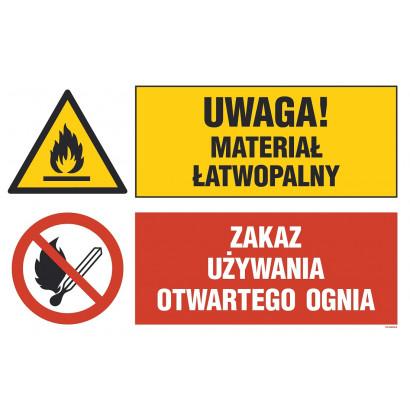 Uwaga! materiał łatwopalny, Zakaz używania otwartego ognia