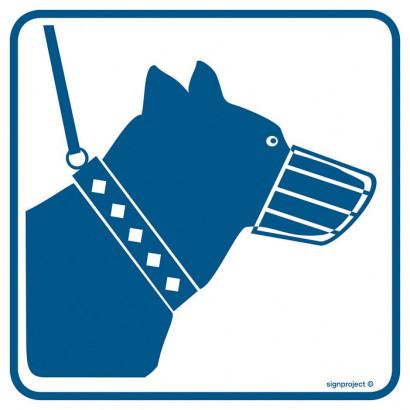 Znak - Psy wprowadzać tylko na smyczy i w kagańcu RA101