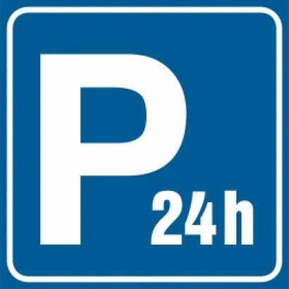 Znak - Parking strzeżony - czynny całą dobę RA118