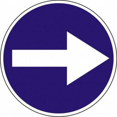 Nakaz jazdy w prawo (skręcanie przed znakiem)