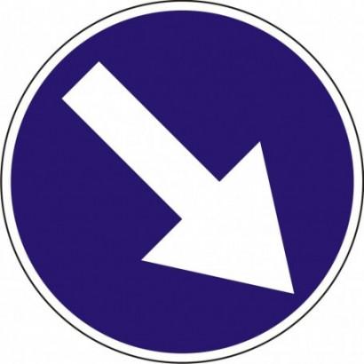 Nakaz jazdy z prawej strony znaku