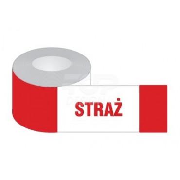Znak - Taśma odgradzająca biało-czerwona STRAŻ, jednostronna EA007