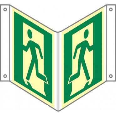 Znak - Wyjście ewakuacyjne lewostronne (3D naścienny gięty) AE901