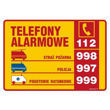 Znak - Tabliczki telefonów alarmowych DA003