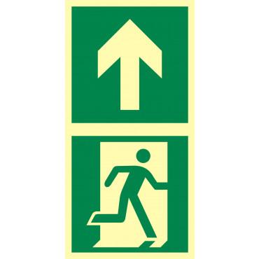 Znak - Kierunek do drzwi ewakuacyjnych w górę EB005