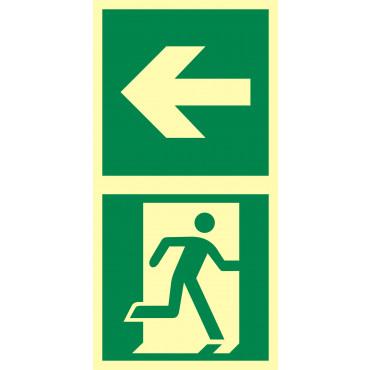 Znak - Kierunek do drzwi ewakuacyjnych w lewo EB036