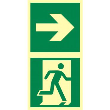 Znak - Kierunek do drzwi ewakuacyjnych w prawo EB037
