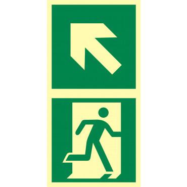 Znak - Kierunek do drzwi ewakuacyjnych w lewo w górę EB038