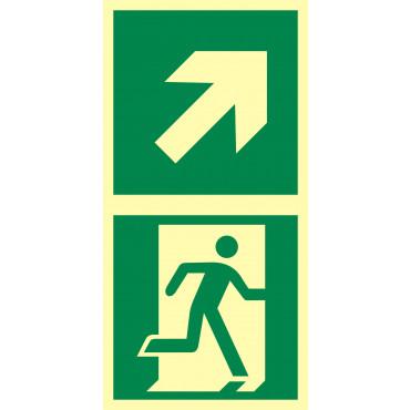Znak - Kierunek do drzwi ewakuacyjnych w prawo w górę EB039