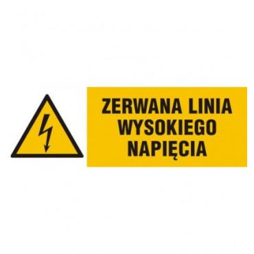 Znak - Zerwana linia wysokiego napięcia NA008