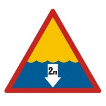 Znak - Niebezpieczna głębokość 2m OE003