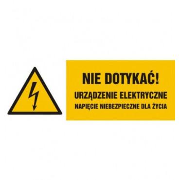 Znak - Nie dotykać, urządzenie elektryczne napięcie niebezpieczne dla życia HB022