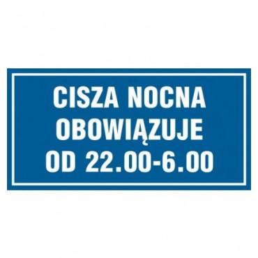 Znak - Cisza nocna obowiązuje od 22.00 - 6.00 ND003