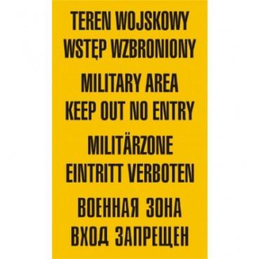 Znak - Teren wojskowy wstęp wzbroniony JE001