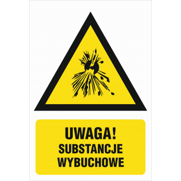 Znak - Ostrzeżenie przed substancjami wybuchowymi JA012