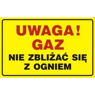 Znak - Uwaga! Gaz - nie zbliżać się z ogniem JD016