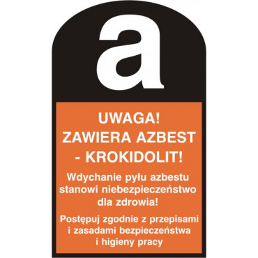Uwaga! Zawiera azbest - krokidolit