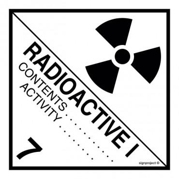 Znak - Materiały promieniotwórcze w opakowaniu. Klasa 7. Kategoria I - Biała MB009
