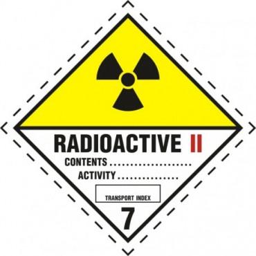 Znak - Materiały promieniotwórcze w opakowaniu. Klasa 7. Kategoria II - Żółta MB010