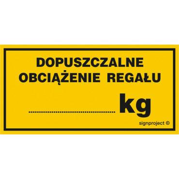 Dopuszczalne obciążenie regału ....... kg