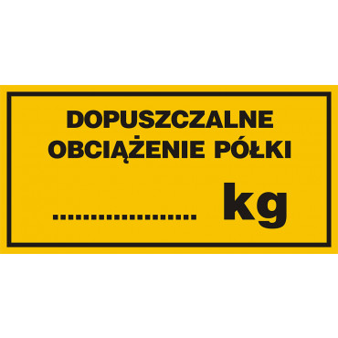 Dopuszczalne obciążenie półki ........... kg
