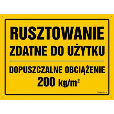 Rusztowanie zdatne do użytku Dopuszczalne obciążenie 200 kg/m2