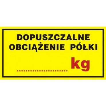 Znak - Dopuszczalne obciążenie półki ....... kg NC038