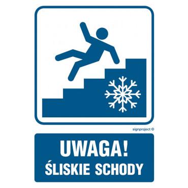 Uwaga śliskie schody - znak